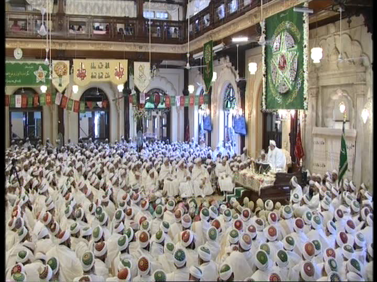 Syedna Mufaddal Saifuddin's (tus) gathering at Saifee Masjid, in Mumbai, to observe the Milad of Syedna Burhanuddin (ra)