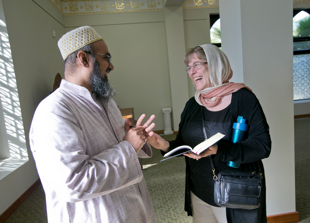 Moldaw Residence resident Janice Weinman, 73, right, chats with minister Amin Saheb Huzefa Poonawala, left, during a visit to the Palo Alto mosque (Masjid) in Palo Alto, Calif., on Tuesday, Nov. 17, 2015. Members of the Mosque follow Dawoodi Bohra, a sub-sect of Shia Islam. (LiPo Ching/Bay Area News Group)